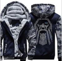 ingrosso felpe con cappuccio univoco-Odin Vintage Hoodie Coat Men Winter Fleece Thick Zipper Unique Father's Day Gifts Jacket Sweatshirt Hip Hop Streetwear