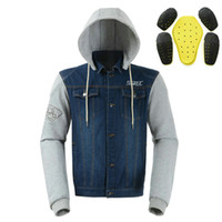 vestes de moto achat en gros de-SSpec veste de moto Mens Denim Off-Road Racing Moto hoodies motorcross Équipement de protection mode veste pull casual