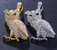 corujas da jóia venda por atacado-Mens colar de hip hop jóias com zircão gelado out chains Vintage High grade coruja pingente de colar de aço inoxidável jóias atacado