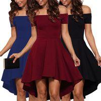elegante kleider große ärmel großhandel-Frauen-Sommer-Kleid 2019 Frauen eleganten Abend-Robe-Short Sleeve Sexy Wort Schulter Tuxedo Big Swing-Kleid plus Größe S-2XL