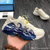 Wholesale men leather shoes new models resale online - New Men s Rhyton leather sneaker with wave Luxury designer shoes couple shoes men and women models fashion casual shoes DRW00