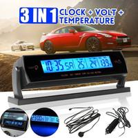 ingrosso adattatore mp3 usb sd aux-3 IN 1 Digital Clock Blue Car LCD + Voltage + termometro di temperatura allarme Battery Monitor