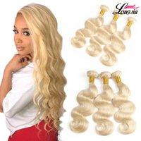 Wholesale 613 hair weave resale online - 613 Body wave Virgin hair Blonde Human Hair Weaves Indian Body Wave Bundles Human hair Extension
