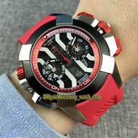schwarz weiß chronograph  groihandel-Beste Version EPIC X CHRONO CR7 Schwarz / Weiß Skeleton Dial Japan VK Quarz Chronograph Bewegung Herrenuhr Red Rubber Strap Sportuhren