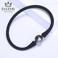 ingrosso braccialetto di perle d'acqua dolce nera-DAIMI Simple Black Bracelet 11mm Black Pearl Pearl Bracelet Bracciali casual impermeabili Accessori versatili