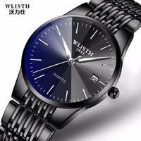 ince erkek saatler toptan satış-Wlisth Üst Marka Lüks Erkek Su Geçirmez İş Saatler Adam Kuvars Ultra-ince Bilek İzle Erkek Saat Relogio Masculino MX190725