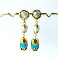 Wholesale blue pearls resale online - Electroplate gold color blue stone Charm Dangle earrings pave pearl Women s Fashion Jewelry ER1006