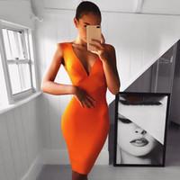 ingrosso bendaggio arancione-Sexy Dress Club Wear Dress Dress 2019 Nuovi arrivi senza maniche Orange Wine Red Women Bandage Abiti aderenti Vestidos