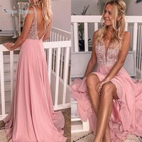 Wholesale romantic champagne prom dress resale online - 2019 Romantic Pink Prom Dress Chiffon Sweep Beads V neck and Backless Sleevlese Vestidos De Novia Evening Party Gown