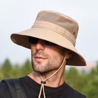 chapéus de pesca respirável venda por atacado-Chapéu de sol para as mulheres dos homens de verão ao ar livre proteção solar chapéu de balde de aba larga impermeável respirável packable chapéu boonie para safari pesca golf