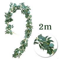 künstliche seidenblätter großhandel-DIY Künstliche Seide Hängen Eukalyptus Rebe Hochzeit Simulation 2 mt Lange Wicker Leaves Vine Dekorationen