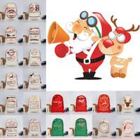 meilleur sapin rouge achat en gros de-Sacs de cadeau de Noël organiques Lourde Santa Sac de toile Sac de cordon avec des rennes Père Noël Enfants cadeau de Noël Sacs