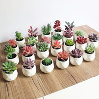 Wholesale mini white flower pots resale online - 12 Artificial Succulent Plants Fake Artificial Bonsai with Pots Decorative Ball Plants Flower Mini