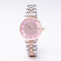 correia de aço fêmea venda por atacado-TOP moda feminina designer de relógio de diamantes senhoras esportes rosa menina de ouro diamante Britânico cinto de malha de aço com temperamento relógio casual