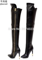 Wholesale overknee boots thigh high resale online - Qianruiti Fashion Women Thigh High Boots Pointed Toe High Heels Long Zip Overknee Booties Classic Design Tall Boots Ladies