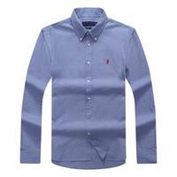 azul marino polo al por mayor-dddd envío camisa de algodón de manga larga de los hombres de la solapa de la tela escocesa de los hombres azul marino camisas de POLO Oxford de negocios camisa informal ropa de caballo pequeño s-xxxl
