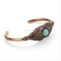Wholesale antique silver bangles for women resale online - 10 Antique Gold Silver Plated Carve Feather Leaves Turquoise Cuff Bracelet Cuff Bangle For Women Men Vintage Jewelry