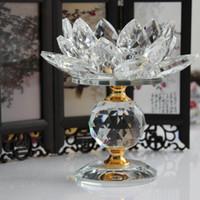 castiçais de vidro de bloco venda por atacado-Bloco de Vidro de cristal Flor De Lótus De Metal Castiçais Feng Shui Home Decor Grande Tealight Suporte De Vela Titular Castiçais