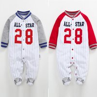 Wholesale baby baseball sleeves resale online - Newborn Infant Boys Rompers Spring Babe Girls Clothes Long Sleeve Baseball Uniform Jumpsuit Cotton Baby Pajamas m Q190518