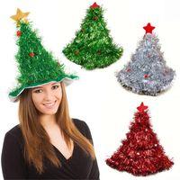 Wholesale headgear costume resale online - Tinsel Christmas Tree Hat On pc Headband Father Christmas Xmas Party Santa Fancy Dress Costume Hat Holiday Decorations Headgear