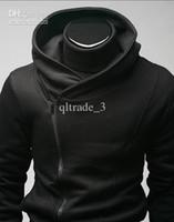 suikastçü inanç siyah ceket toptan satış-Qltrade_3 Sıcak satış Erkek ince tasarlanmış Hoodie Ceket Haşîşîler'i zip Creed siyah Son Kat