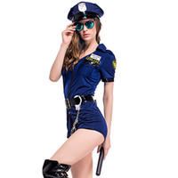 Wholesale police woman halloween costumes for sale - Group buy Women Police Officer Fancy Romper Halloween Costume Cop Outfit Party Cosplay