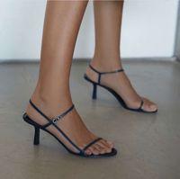 marine sandalen großhandel-2019 Damen Designerschuhe Sommer Nackte Ledersandalen aus weichem dunkelblauem Leder 65mm elegante, schlanke Riemen überraschend bequem