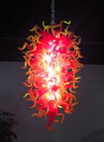 luminárias pingente laranja venda por atacado-Sombra de Cristal LED moderna Lustres Iluminação Laranja Murano Bola de vidro luminária para sala de jantar Quarto Sala aparelho de iluminação