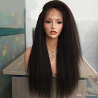 peluca recta recta de encaje yaki remy al por mayor-Yaki italiano de encaje lleno pelucas de cabello humano para las mujeres negras pelucas rectas rizadas pelucas del cordón remy brasileño Pre pulsado nudos blanqueados