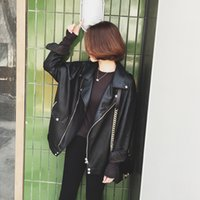 schwarze lederjackenkette großhandel-Lederjacke Boyfriend Black Coat Damenjacken Kettenjacke Punk Large Size Blazer Black Coat Umlegekragen