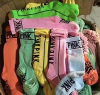 rosa geführte klipps groihandel-Frauen lieben rosa Strümpfe Kniestrümpfe Mode Socken Sport Fußball Cheerleader lange Socken Baumwolle rosa Beinlinge
