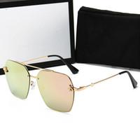 pegatina gafas de sol al por mayor-Gucci 0113 calidad Lentes de vidrio Moda Hombres y Mujeres Gafas de sol con recubrimiento UV400 Diseñador de la marca Vintage Sport Polit Gafas de sol Con caja y adhesivo