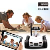 iphone remote kamera app großhandel-Mini fernbedienung toys wifi roboter kamera rc tank app echtzeitgesteuertes ios iphone smart device für kinder kis geschenke