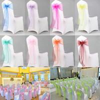decoración de boda pura al por mayor-Organza Silla Sash Bow para la cubierta Banquete Banquete de boda Evento Chrismas Decoración Sheer Organza tela fundas para silla Fajas WX9-1282