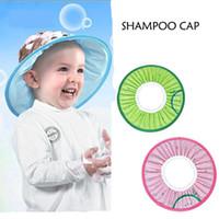 ingrosso cappelli da bagno per bambini-1pcs Elastic Cartoon Baby Cuffia da doccia impermeabile Baby paraorecchie Shampoo Cap Shading Hat Bambini Protezione di taglio dei capelli