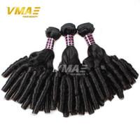 insan saçı örgü renk siyah toptan satış-Brezilyalı Funmi saç saf renk bahar kıvırcık insan saçı uzantıları siyah bakire düz bukleler işlenmemiş saç opp bag örgüleri