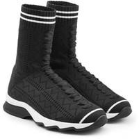 buz ipliği siyah toptan satış-İtalyan marka defile siyah ve beyaz bez sneaker modern tasarım koşu ayakkabı içi boş vücut elastik iplik çorap çizmeler kadın çizmeler yüksek