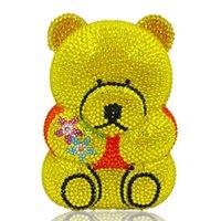ingrosso frizione giallo blu del strass-Bianco e nero / giallo / blu 6 colori strass a forma di orsetto Pochette da donna Borse da festa Mini Borse da sera da donna