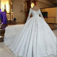 Luxury 2020 New Ball Gown Wedding Dresses Beading Crystal Long Sleeve Scoop Neck Plus Size Bridal Gowns Wedding Dress