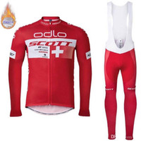 Wholesale thermal winter fleece cycling jersey resale online - SCOTT team Cycling Winter Thermal Fleece jersey long Sleeves bib pants sets New arrivals bike clothes Multiple Choices Simple Men