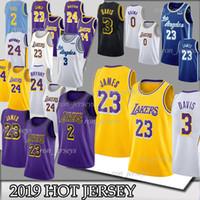camisa 23 venda por atacado-NCAA 23 James 3 Davis 23 Camisolas de LeBron Los Angeles Bryant 24 Kobe 14 Ingram 0 Camiseta Kuzma 2 Kyle 2019 TOP