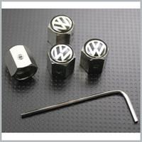 ingrosso tappo stelo in acciaio inox nero-10 Set / lotto Volkswagen Ruota Pneumatico Valvola della gomma Stelo Coperture antipolvere Caps Antifurto Chiusura VW All'ingrosso