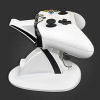 cais xbox venda por atacado-Dupla Controlador Titular Carregador 2 USB Lidar Com Carregamento Rápido Dock Station Stand Charger Para XBOX ONE S gamepad