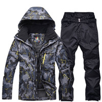 9fa1e3c119d16 black grey Man professional Snowboarding clothes Ski suit sets Waterproof  windproof winter outdoor costumes snow jackets + pants