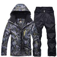 ropa de nieve al por mayor-Negro gris Hombre Ropa de snowboard profesional Conjuntos de trajes de esquí Impermeables a prueba de viento trajes de invierno al aire libre chaquetas de nieve + pantalones