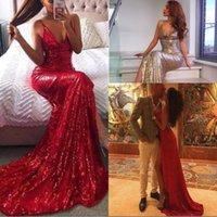 balo elbisesi boyun sırtı tasarımı toptan satış-Seksi Tasarım Mermaid Derin V Yaka Yüksek Bölünmüş Gelinlik Sweep Tren Bling payetli Backless Champagne Kırmızı Kadınlar Abiye