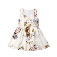 nuevo diseño de botones al por mayor-Nuevo diseño vestido de niña de verano sin mangas floral vestido casual boutique moda niños botón floral falda