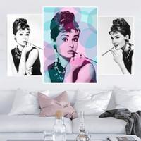 Wholesale Retro Audrey Hepburn Portrait Motivation Canvas Prints Modern Painting Posters Wall Art Pictures For Living Room Home Decoration
