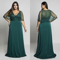 охотничьи зеленые платья выпускного вечера оптовых-Hunter Green Бисероплетение Плюс Размер Платья для выпускного вечера Вечерние платья с v-образным вырезом