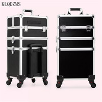 Wholesale suitcases trolley cases resale online - high quality women professional make up case trolley cosmetic suitcase large capacity Rolling Luggage on wheels